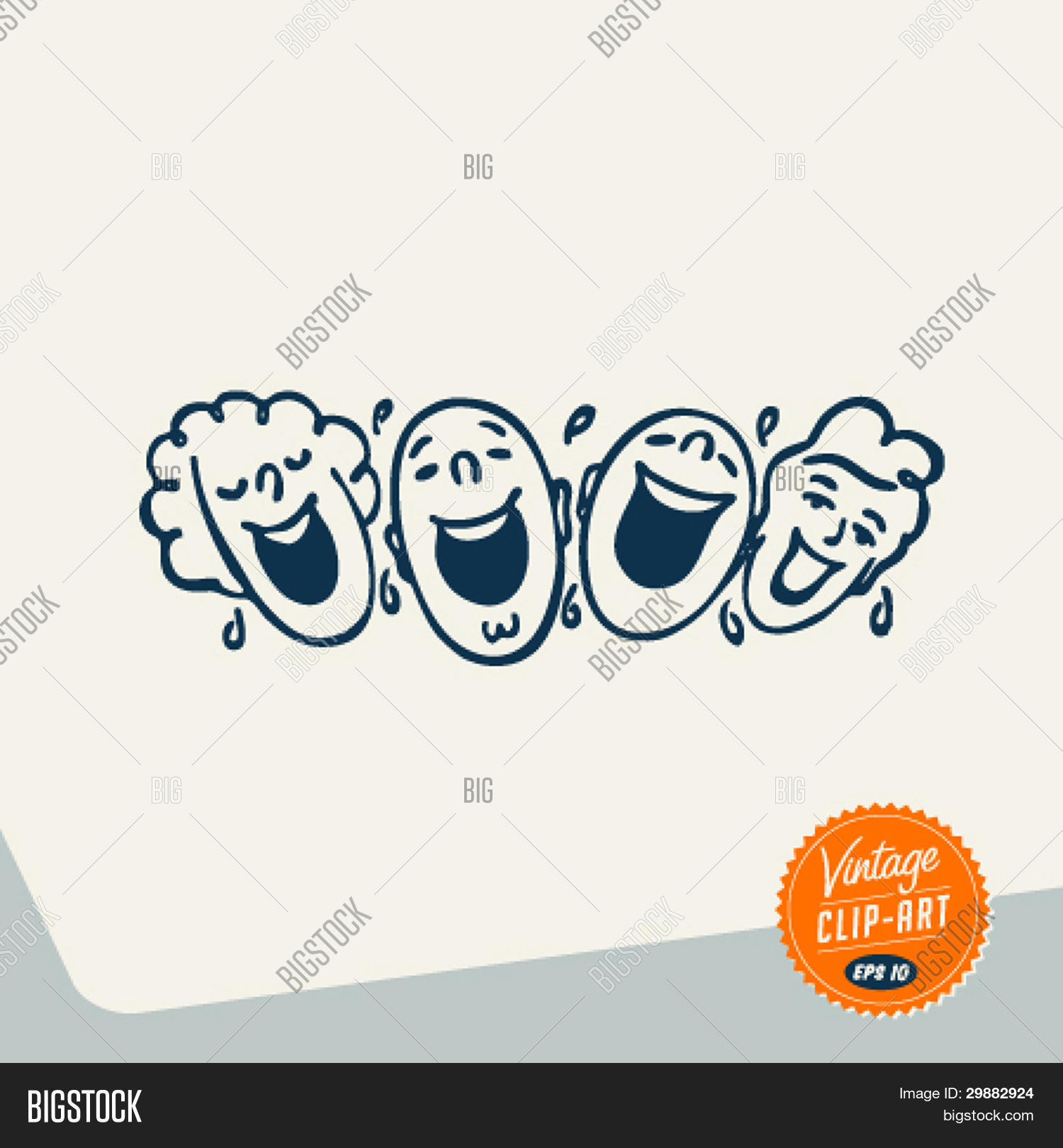 People laughing clipart clip art library download Vintage Clip Art - People laughing out loud - Vector EPS10. Stock ... clip art library download
