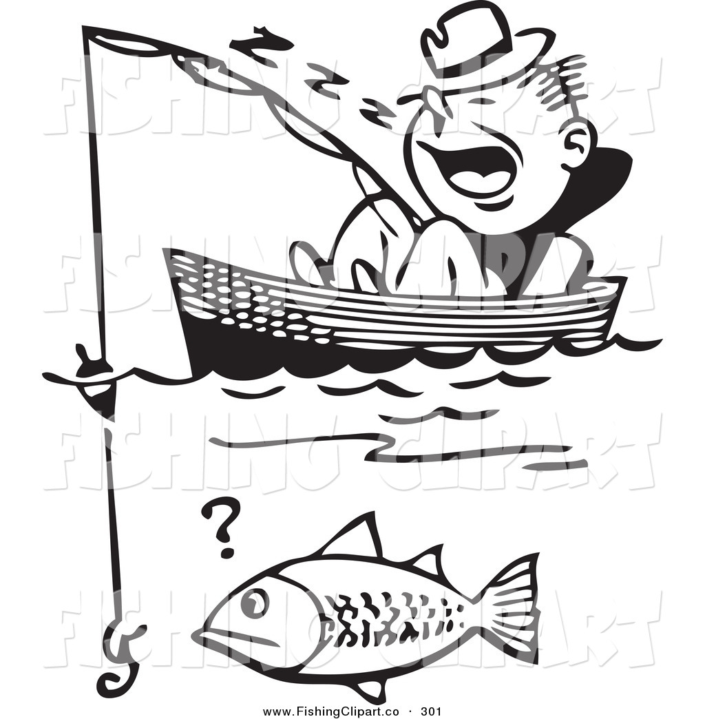 People on a boat catching fish clipart banner library library Clip Art of a Retro Black and White Man Sleeping in a Boat ... banner library library
