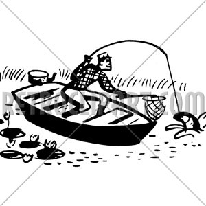 People on a boat catching fish clipart png royalty free library Man In Boat Catching Fish, RetroClipArt.com png royalty free library