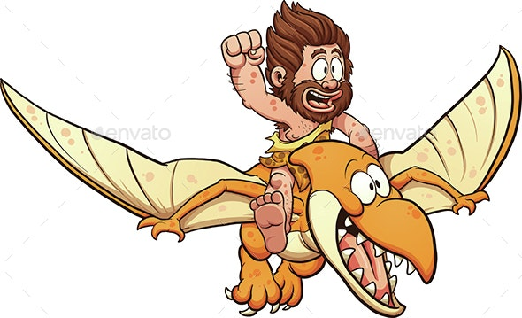 People on top of a pterodactyl clipart clip art stock Caveman Riding a Pterodactyl clip art stock