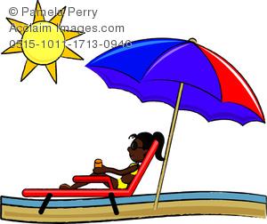 Woman in beach chair clipart