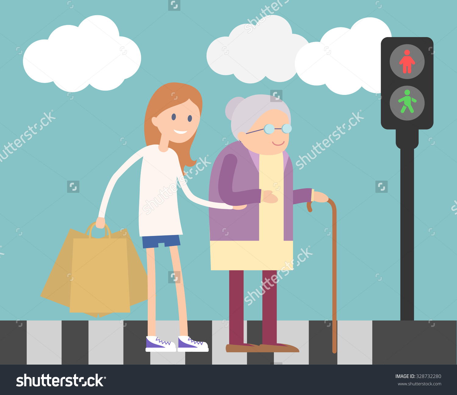 People showing kindness clipart vector Girl Helps Old Lady Crossing Road Stock Vector 328732280 ... vector