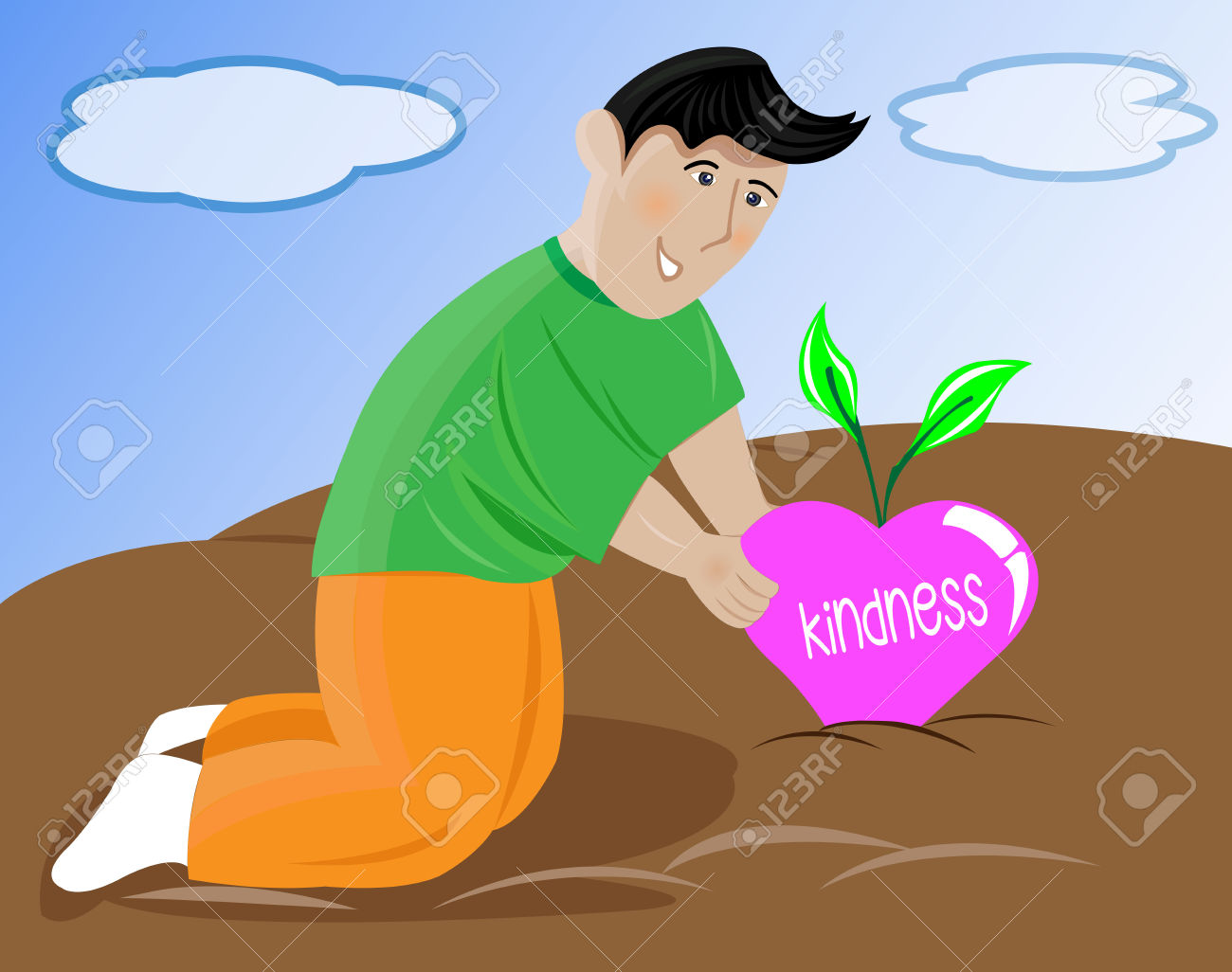 People showing kindness clipart vector transparent An Illustration Of A Young Man Harvesting Heart Shaped Fruit ... vector transparent