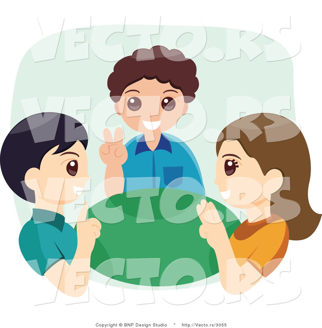 People using sign language clipart banner free library Vector of Three Happy Children Using Sign Language by BNP Design ... banner free library