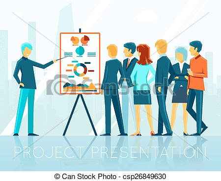 People vs projects clipart black and white library Vectors of Business meeting, project presentation. People and ... black and white library