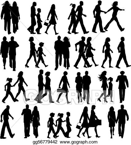 People walking clipart svg black and white stock Vector Art - People walking. Clipart Drawing gg56779442 - GoGraph svg black and white stock
