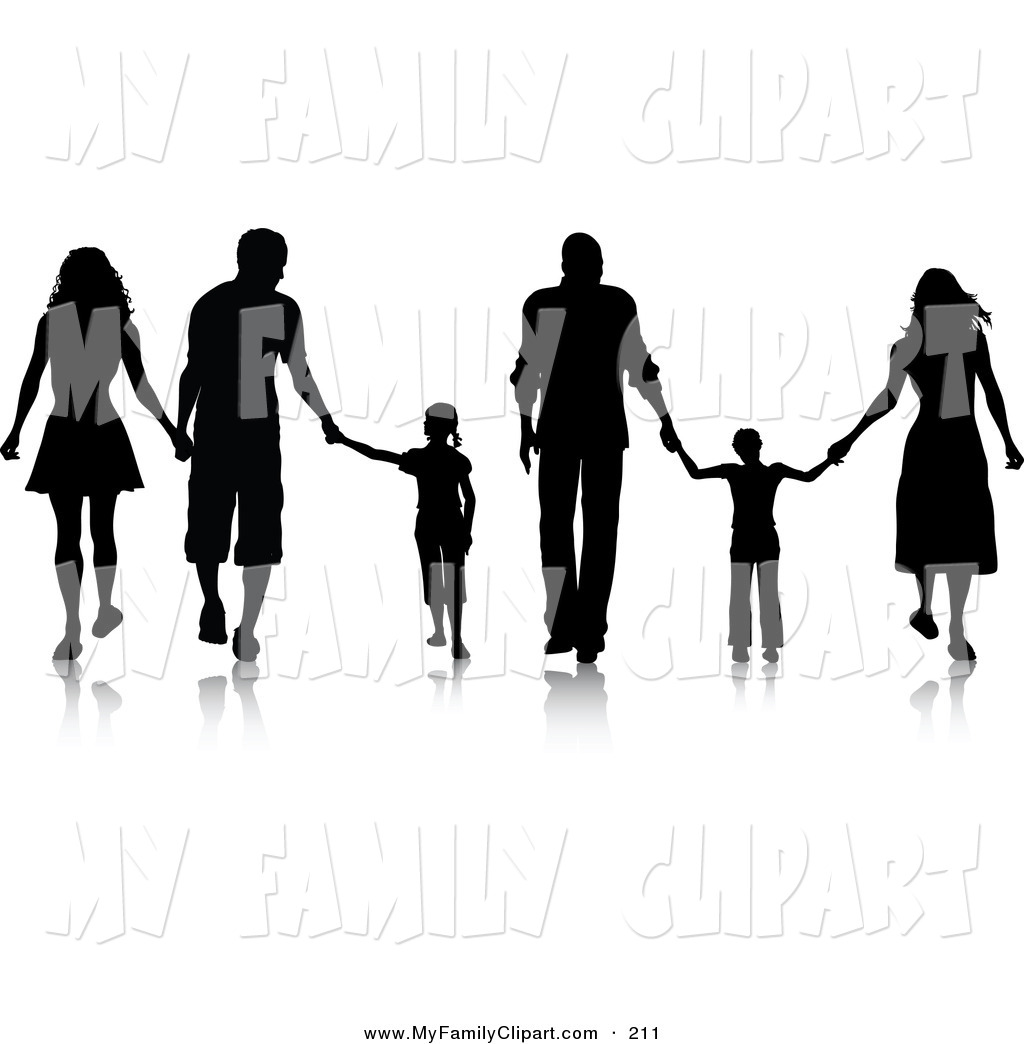 Walk holding hands clipart jpg black and white Black-Silhouetted-Families-Walking-And-Holding-Hands-In-A ... jpg black and white