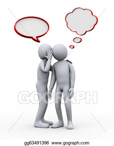People whispering clipart black and white stock Stock Illustration - 3d people whispering. Clipart Drawing ... black and white stock