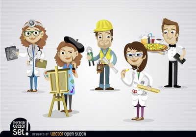 People working clipart banner black and white download Free People working in different jobs Clipart and Vector ... banner black and white download