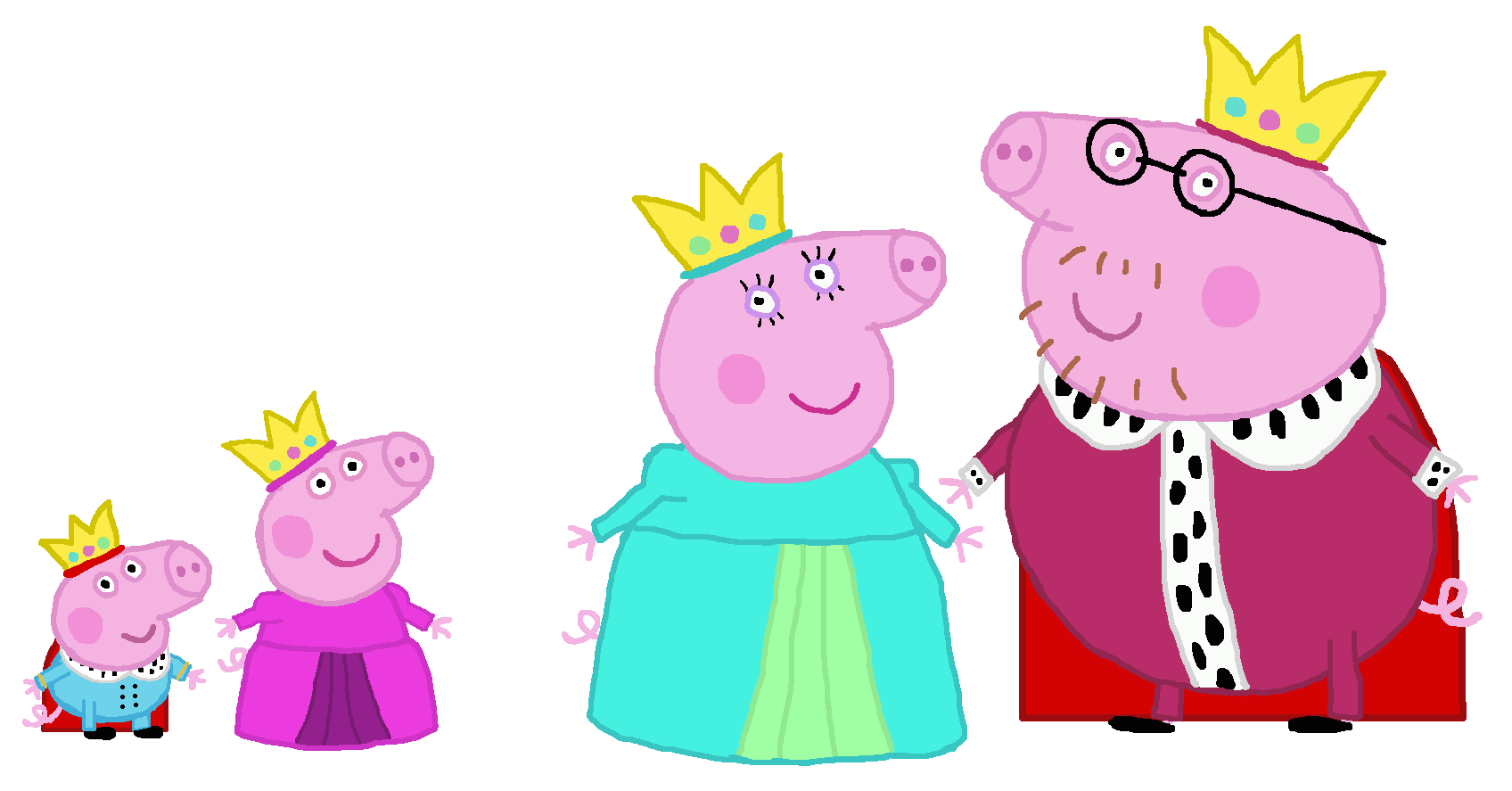 Library Of Peppa Pig Family Graphic Black And White Stock Png