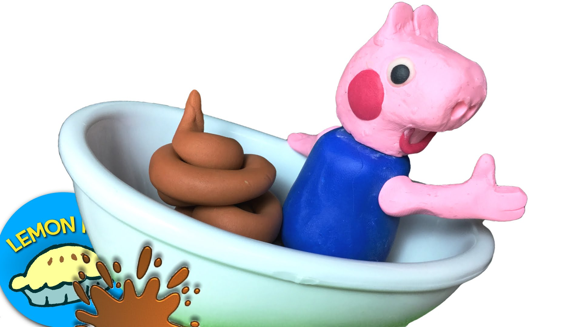 Peppa pig going potty clipart graphic black and white stock Peppa Pig Toilet Training George Poops in Bathtub Play - Clip Art ... graphic black and white stock