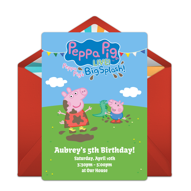 Peppa pig house clipart banner free Free Peppa Pig Live Invitations | Pinterest | Easy, Pig birthday and ... banner free
