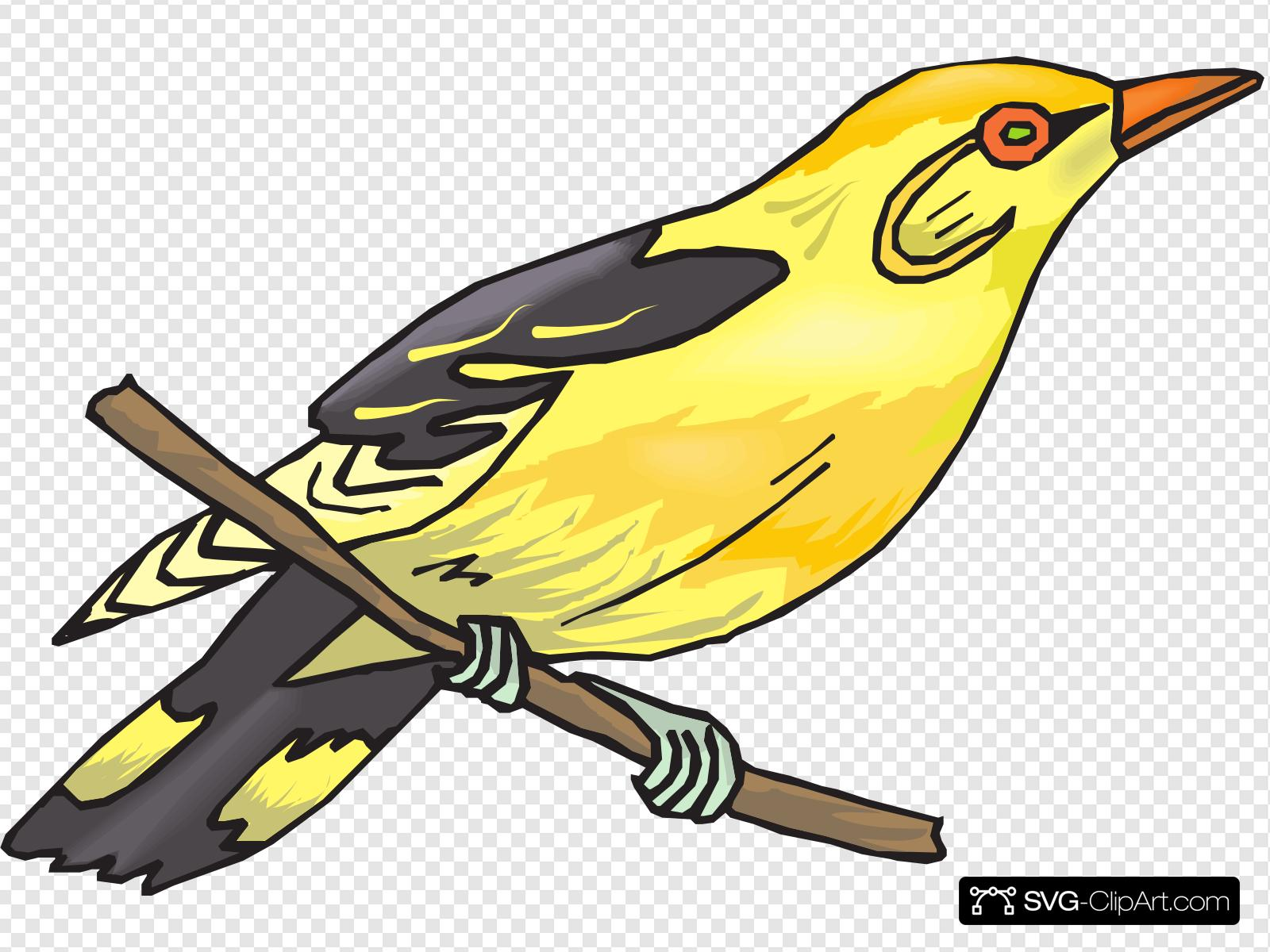 Perched clipart banner black and white library Perched Yellow Finch Clip art, Icon and SVG - SVG Clipart banner black and white library