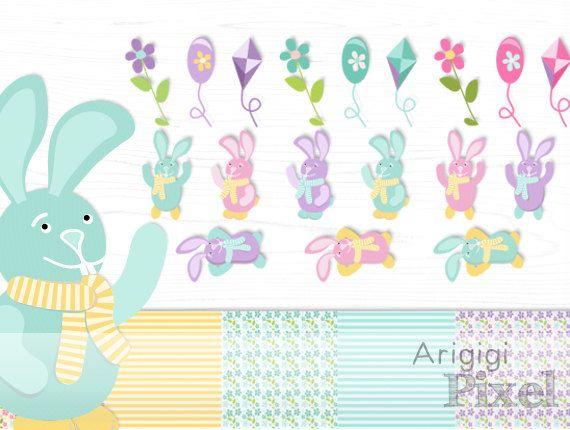 Perlie clipart clip art freeuse stock Easter bunnies clip art set, flowers, baloons, kites clipart ... clip art freeuse stock