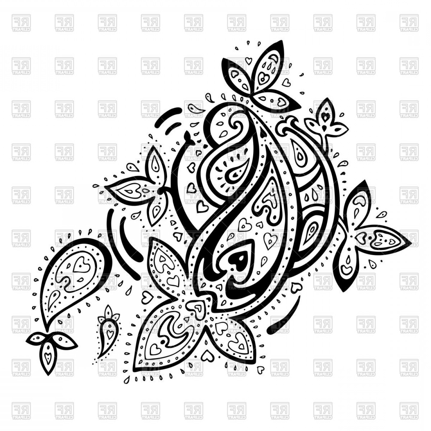 Persian clipart freeuse library Paisley Ethnic Persian Ornament Vector Clipart   SOIDERGI freeuse library
