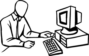 Person at computer black and white clipart svg free library Man yelling at computer clipart black and white - Clip Art ... svg free library