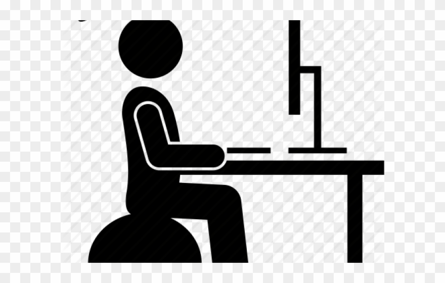 Person at computer black and white clipart image black and white library Person Icons Computer - Standing Desk Clip Art - Png ... image black and white library