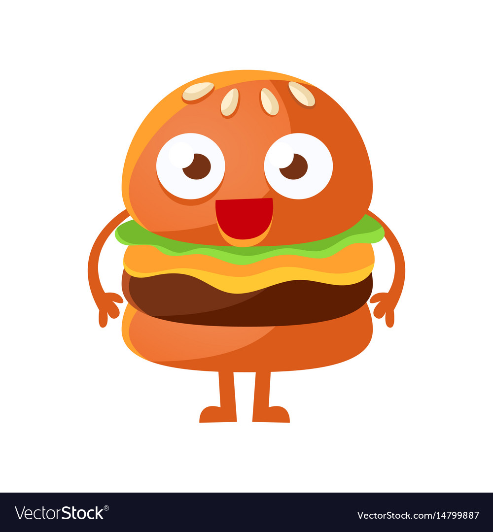 Person eating a hamburger with funny eyes clipart transparent download Funny burger with big eyes standing cute cartoon transparent download
