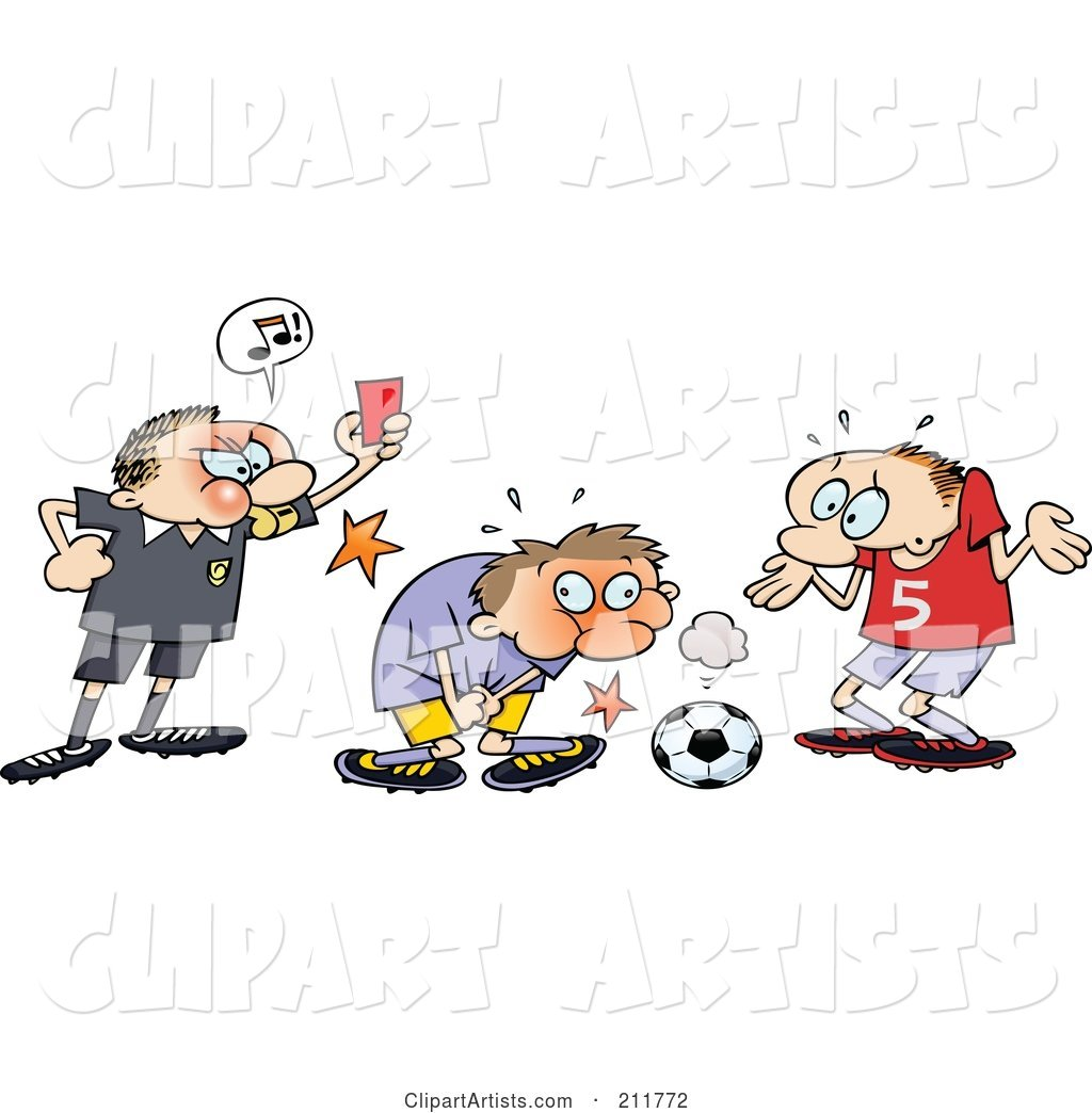Sensitive clipart png royalty free download Mad Ref Holding Up A Card While A Toon Guy Grabs Himself ... png royalty free download