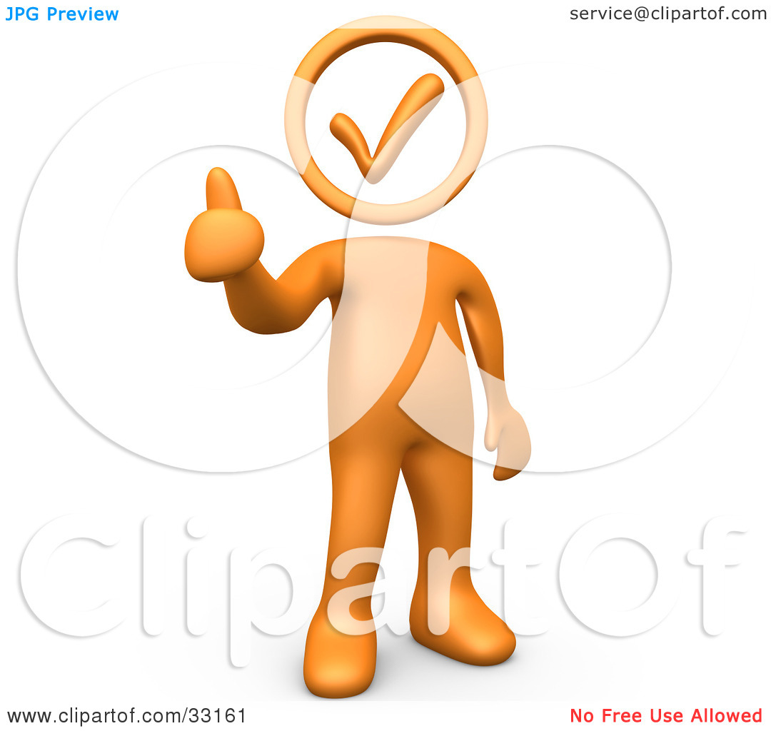 Person giving thumbs up clipart jpg freeuse download Clipart Illustration of an Orange Person Holding With A Check Mark ... jpg freeuse download