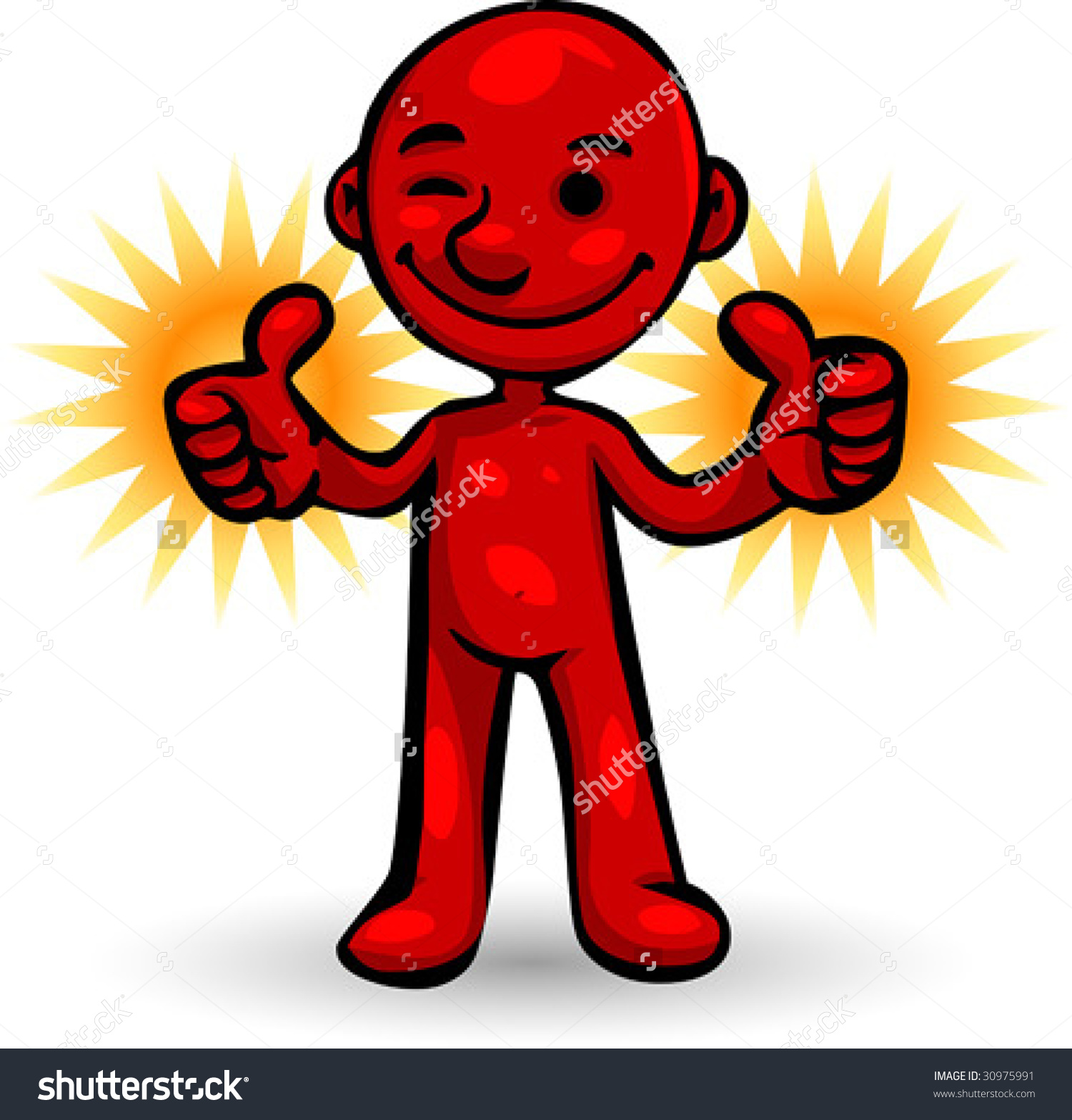 Person giving thumbs up clipart black and white stock Vector Clip Art Illustration Little Red Stock Vector 30975991 ... black and white stock