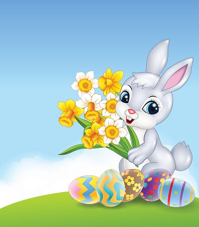 Person holding a lot of eggs clipart graphic library stock Cartoon Happy Bunny Holding Flower With Colourful Easter ... graphic library stock
