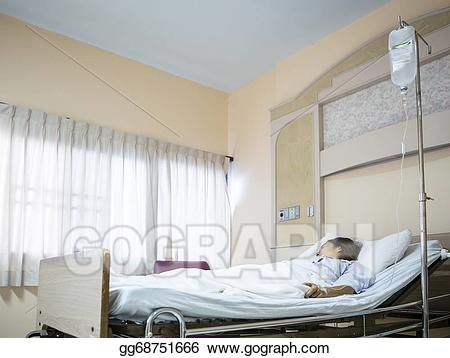 Person in hospital bed trach tube clipart clip free Stock Photo - Woman patient in hospital bed . Stock ... clip free