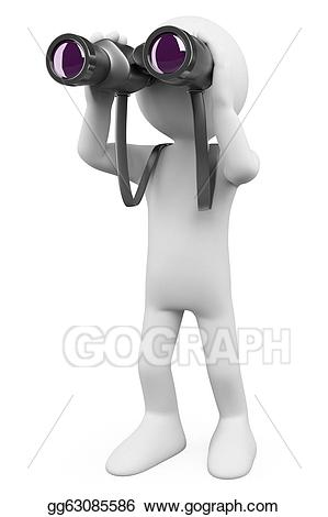 Person looking through binoculars clipart banner library stock Stock Illustration - 3d white people. binoculars. Clip Art ... banner library stock