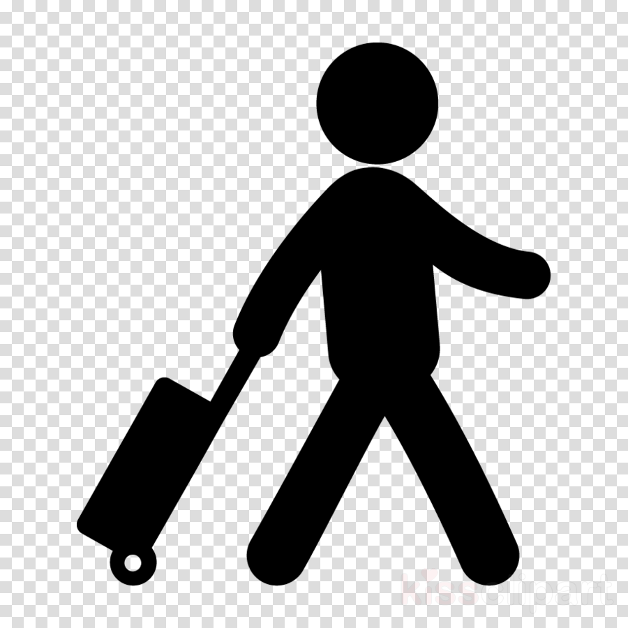 Person traveling with suitcase clipart