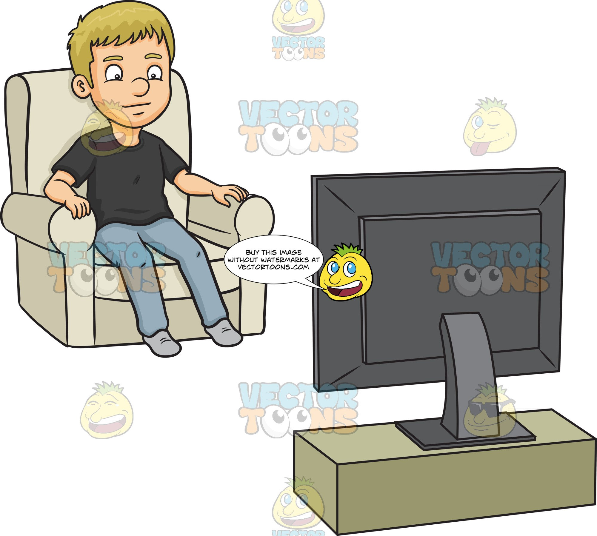 Person watching tv clipart clipart black and white download A Man Watching Tv clipart black and white download
