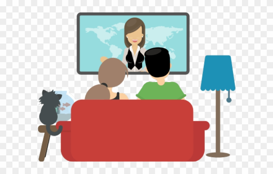 Watching tv with the family clipart
