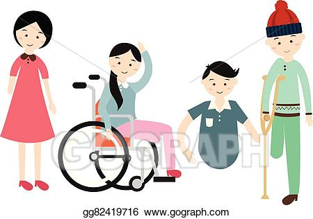 Person with disability clipart clip black and white Vector Clipart - World disability day disabled people vector ... clip black and white