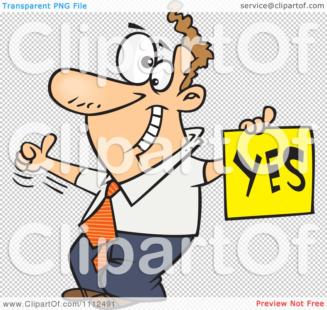 Person with thumbs up clipart image freeuse download Clipart Displeased Man With A Thumb Up Holding A YES Sign ... image freeuse download