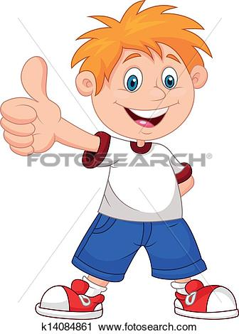 Person with thumbs up clipart picture free Clipart of Cartoon boy giving you thumbs up k14084861 - Search ... picture free
