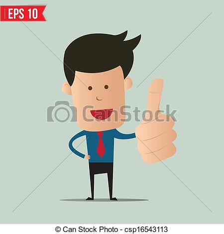 Person with thumbs up clipart png library Vector Clip Art of Cartoon business man showing thumbs up - Vector ... png library