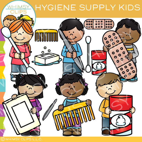 Personal hygiene items clipart black and white clipart black and white library Hygiene Supply Kids Clip Art clipart black and white library