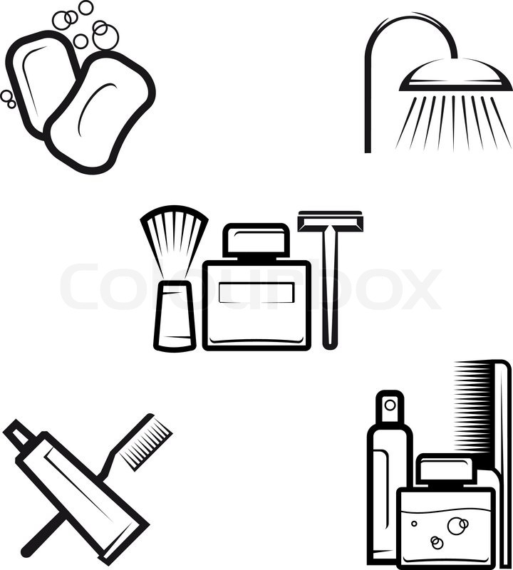 Personal hygiene items clipart black and white picture black and white stock Set of hygiene objects as a lifestyle ... | Stock vector ... picture black and white stock