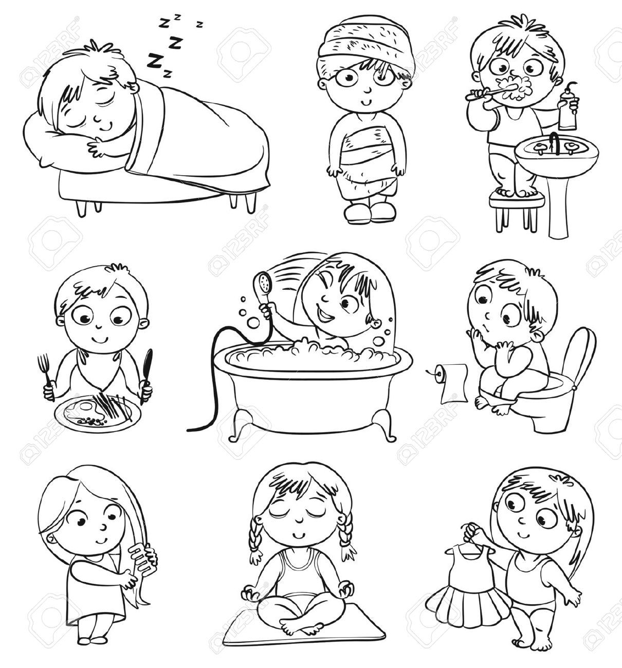 Personal hygiene items clipart black and white vector library library Good Health Habits Cliparts Black And White - clipartsgram ... vector library library