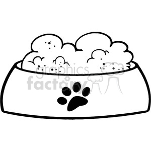 Pet food clipart black and white jpg library Royalty-Free-RF-Copyright-Safe-Dog-Bowl-With-Food clipart. Royalty-free  clipart # 384466 jpg library
