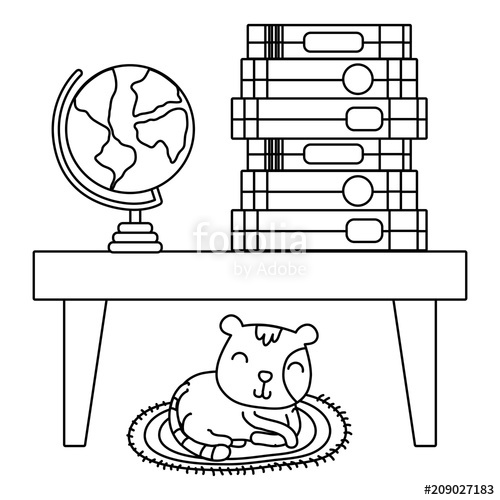 Pet hiding under table black and white clipart svg free line books and global desk in the table and cat\