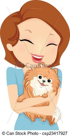 Pet the dog clipart clip black and white library Vector Illustration of Dog Hug - Illustration Featuring a Girl ... clip black and white library