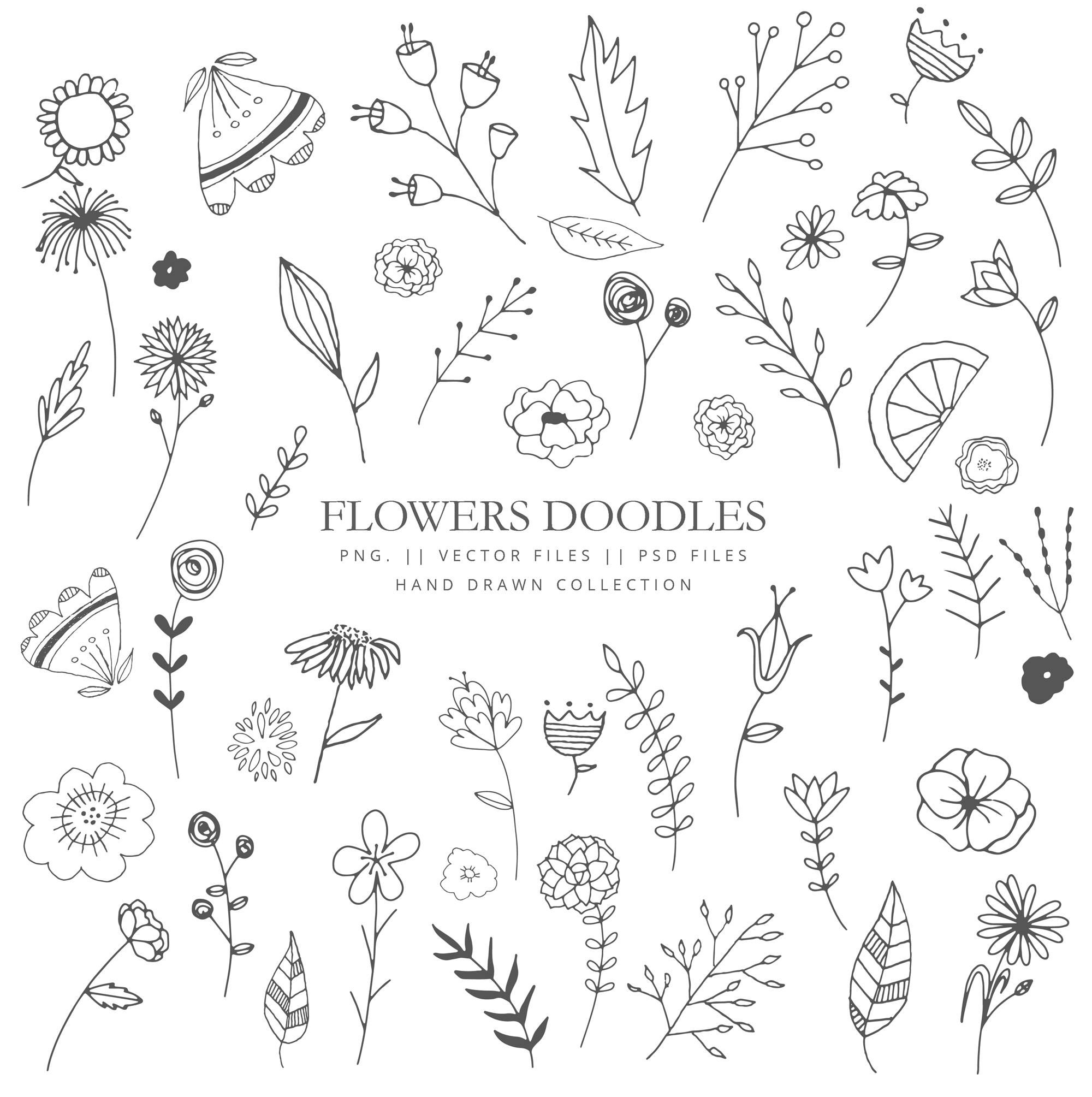 Petalos clipart graphic free library Clip art with doodle flowers, leaves and branches, hand ... graphic free library