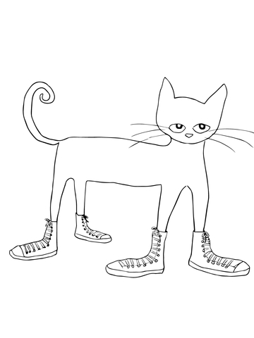 Pete the cat i love my white shoes clipart clipart black and white library Pete the Cat I Love my White Shoes coloring page | Free ... clipart black and white library
