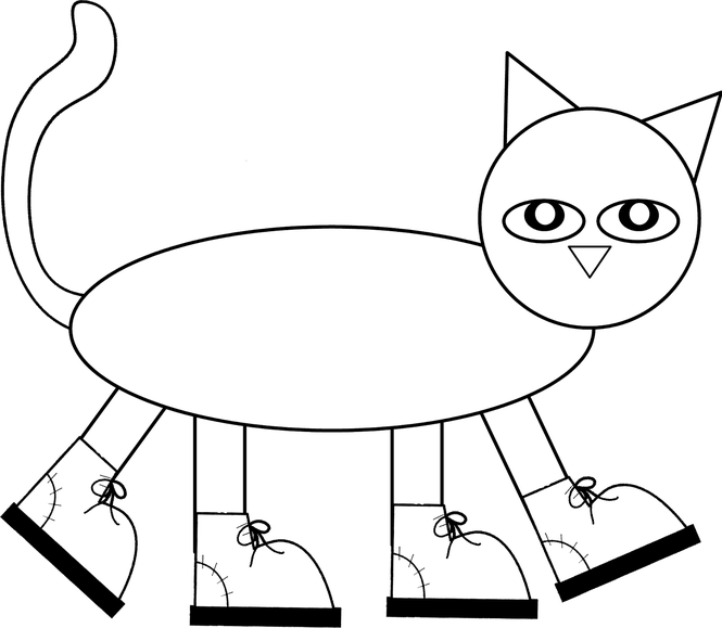 Pete the cat wet shoes clipart jpg black and white Pete The Cat Shoe Template - The Best Cat 2017 jpg black and white