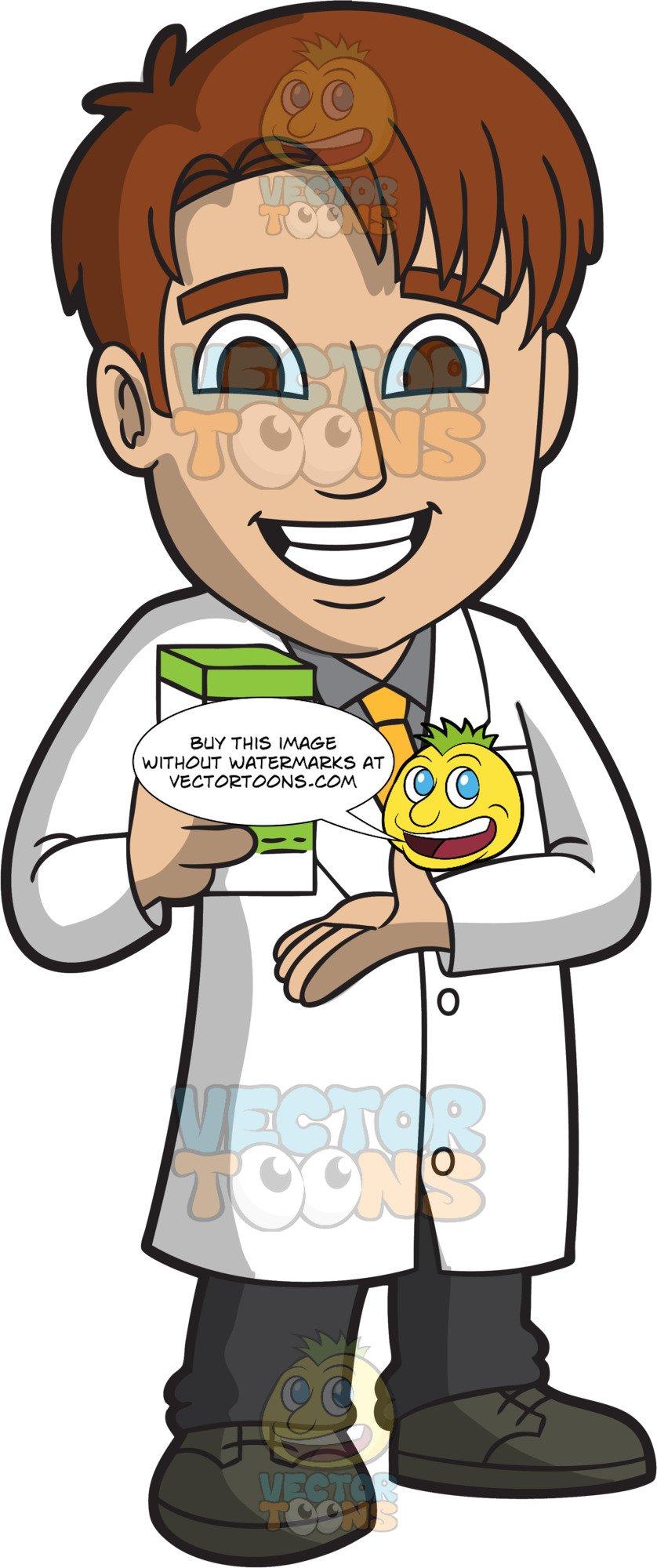Pharmacy cartoon clipart png transparent library A Happy Male Pharmacist png transparent library