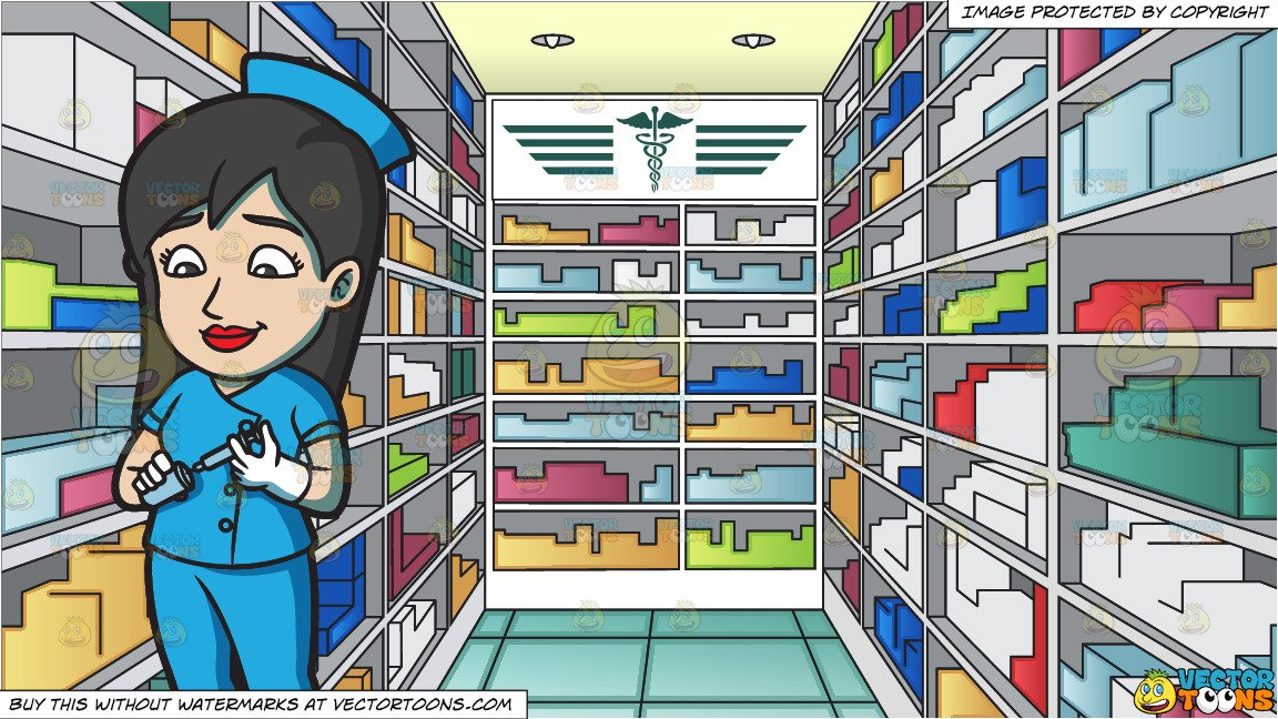 Pharmacy vaccine clipart clipart transparent stock A Female Nurse Preparing A Vaccine In A Syringe and A Pharmacy Aisle With  Batches Of Medicine Background clipart transparent stock