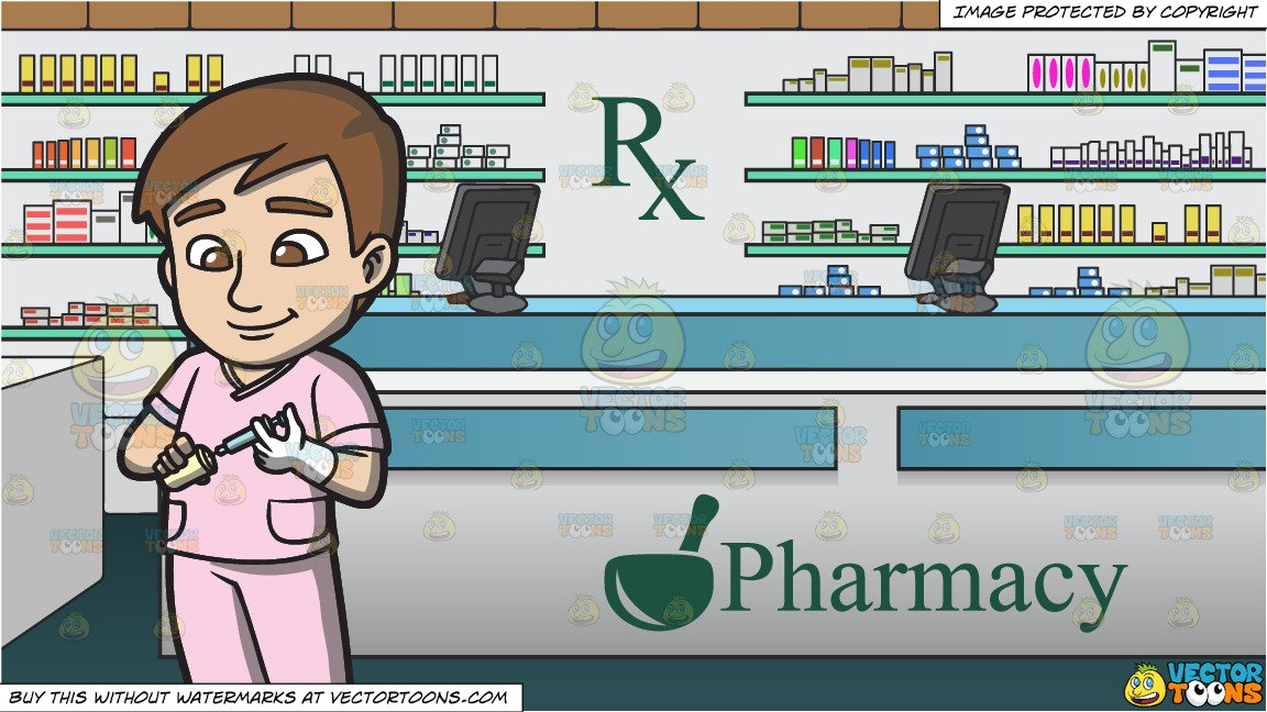 Pharmacy vaccine clipart svg freeuse download A Male Nurse Preparing A Vaccine and Prescription Counter Inside A Pharmacy  Background svg freeuse download