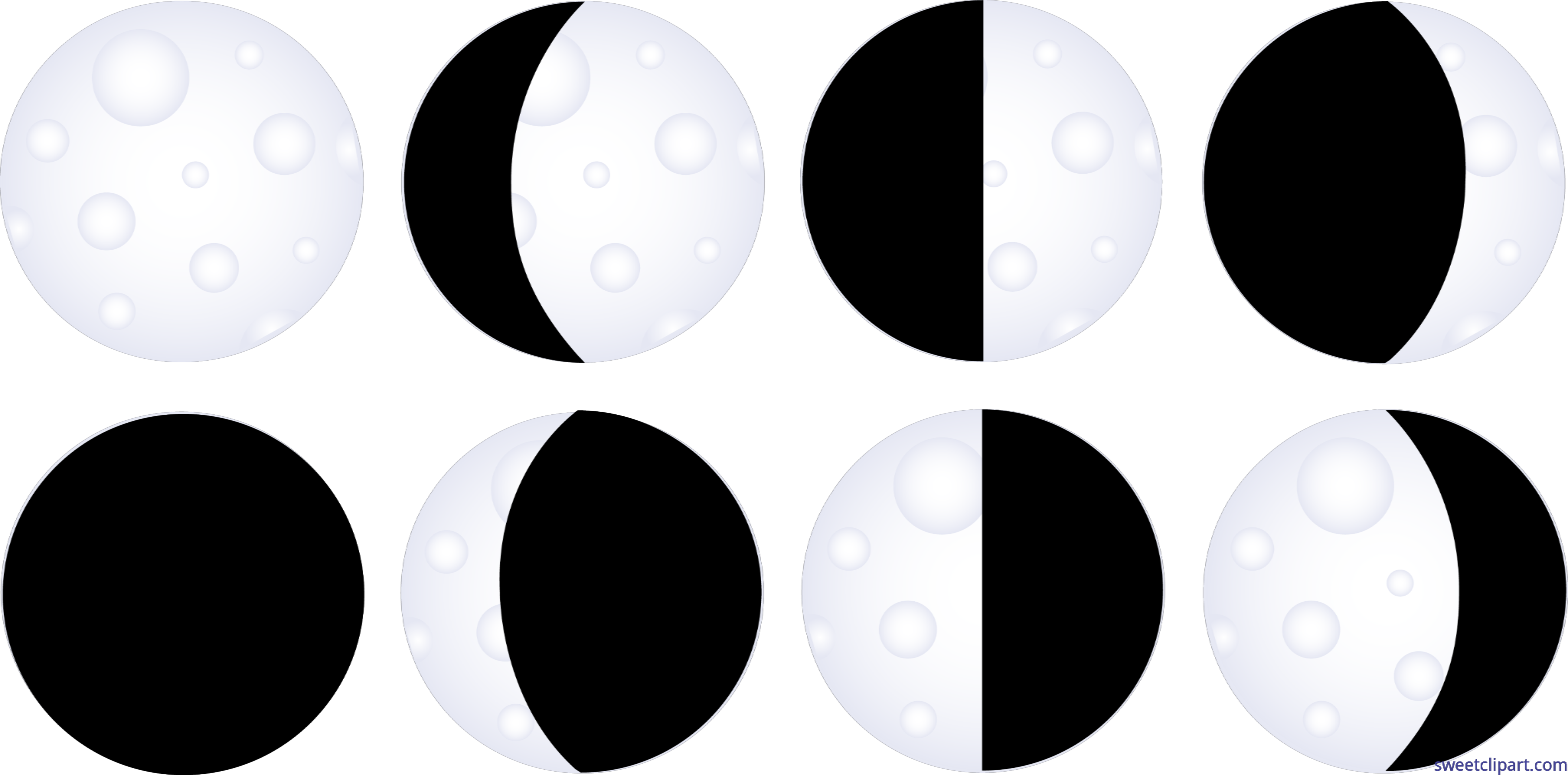 Phases clipart vector freeuse stock Moon Phases Clip Art - Sweet Clip Art vector freeuse stock