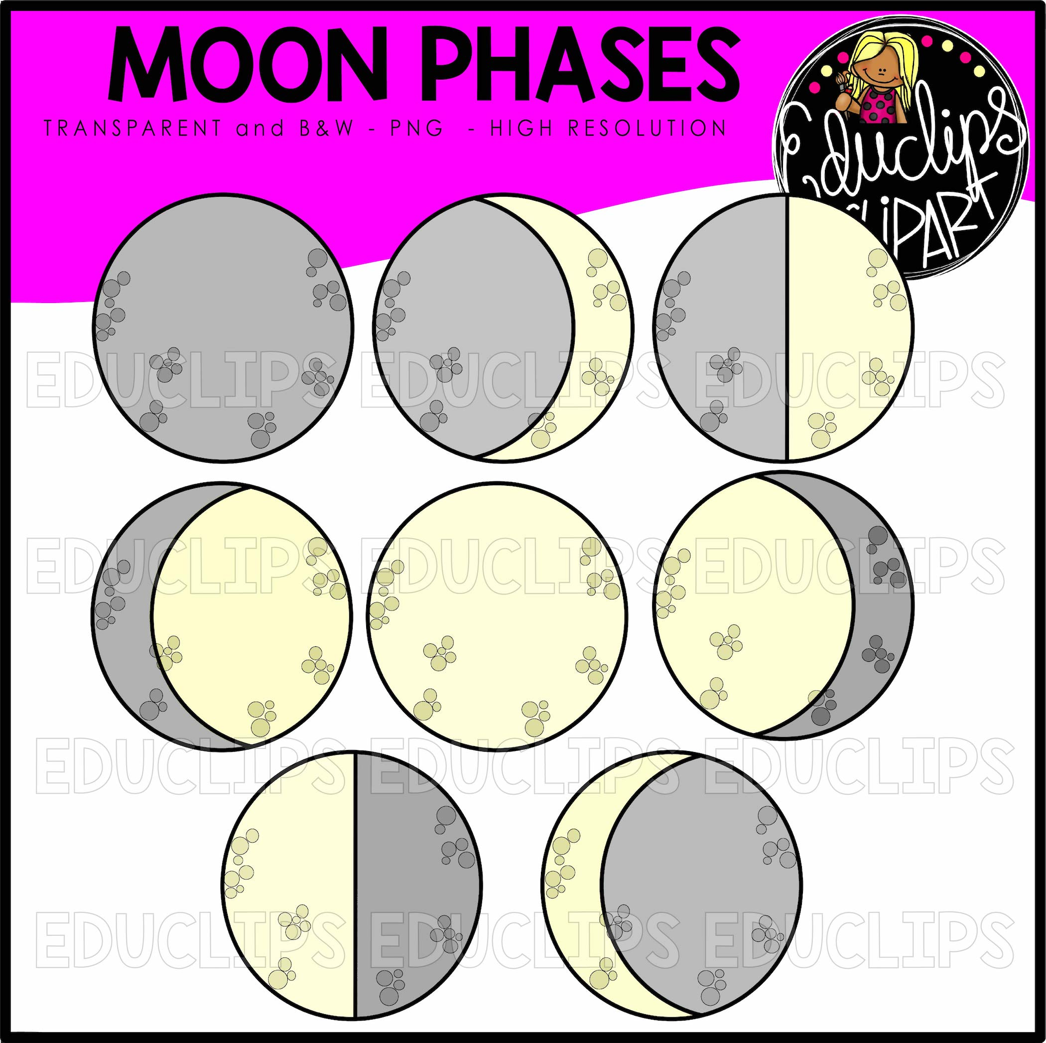 Phases of moon clipart image free stock Moon Phases Clip Art Bundle (Color and B&W) image free stock