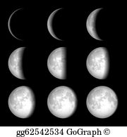 Phases clipart image black and white Moon Phase Clip Art - Royalty Free - GoGraph image black and white